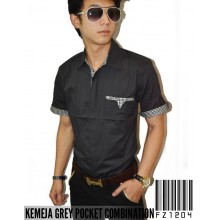 Kemeja Grey Pocket Combination
