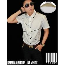 Kemeja Oblique Lines White