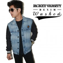 Jacket Varsity Denim Washed
