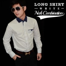 Kemeja Neck Combination White