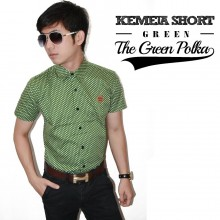 Kemeja Short The Green Polka