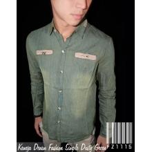 Kemeja Denim Fashion Simple Dusty Green