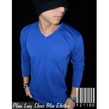 Kaos Polos Panjang V-Neck Blue Electric