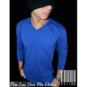 Kaos Polos Panjang V-Neck Blue Electric