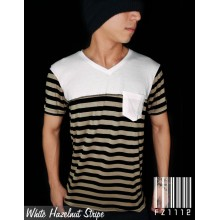 White Hazelnut Stripe Tee
