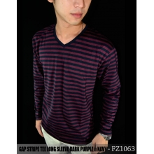GAP Striped Long Sleeve Dark Purple n Navy