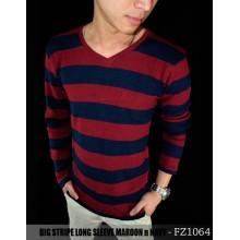 Big Stripe Tee Long Sleeve Maroon n Navy