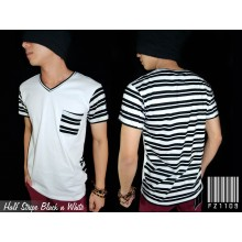 Half Stripe Black n White