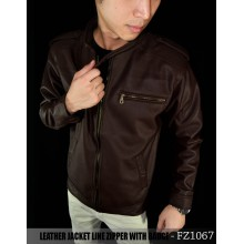 Jacket Leather Line Zipper With Badge