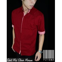 Kemeja Mid Sleeve Maroon Combination