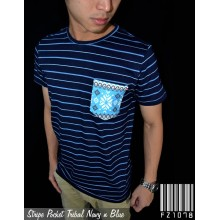Stripe Pocket Tribal Navy Line Blue