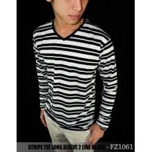 Striped Long Sleeve 2 Line Black