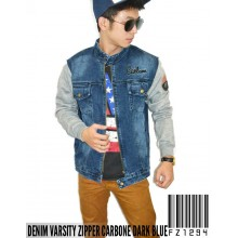 Denim Varsity Zipper Carbone Jacket Dark Blue