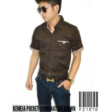 Kemeja Pocket Combination Brown