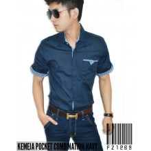 Kemeja Pocket Combination Navy