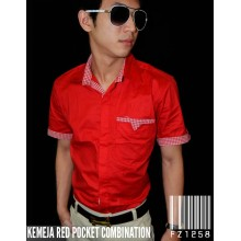 Kemeja Pocket Combination Red