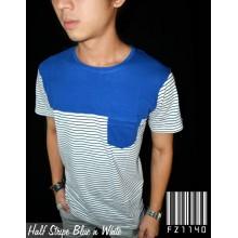 Half Stripe Blue n White