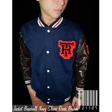 Jacket Baseball Navy Sleeve Brown