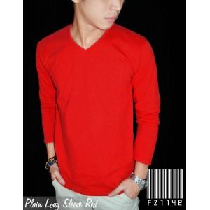 Kaos Polos Panjang V-Neck Merah
