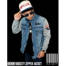 Denim Varsity Zipper Jacket