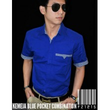 Kemeja Blue Pocket Combination