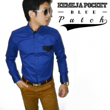Kemeja Pocket Patch Blue