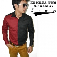 Kemeja Two Side Maroon n Black