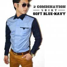 Two Combination Shirt Soft Blue n Navy