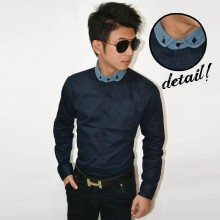 Kemeja Contrast Denim Collar Navy