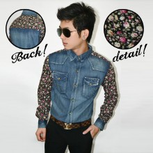 Kemeja Denim Flower Combination Black