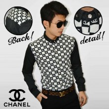 Kemeja Premium Chanel Pattern Black
