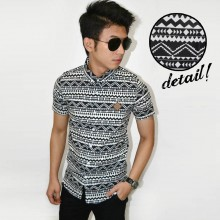 Kemeja Short Monochrome Tribal Black