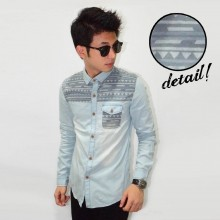 Kemeja Denim Half Tribal Soft Blue