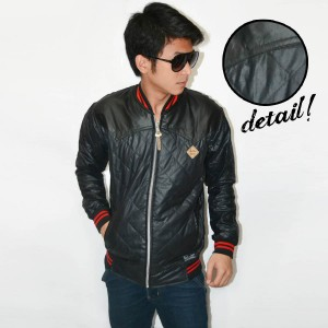 Jacket Varsity Leather Quilted Combine Black