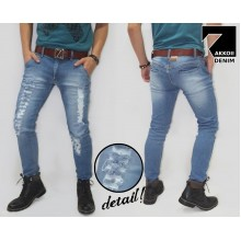 Jeans Pants Ripped Kakkoii Dark Blue