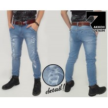 Jeans Pants Ripped Kakkoii Soft Blue