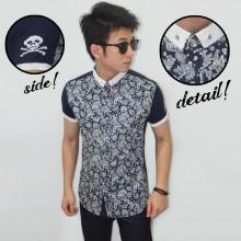 Kemeja Short Casual Batik Skull Side Navy