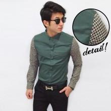 Kemeja Sleeve Checkered Plain Dark Green