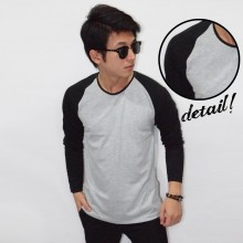 Raglan Tee Long Sleeve Soft Grey Black
