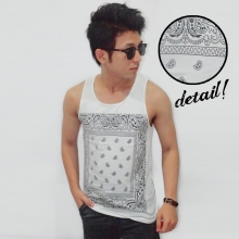Mens Tank Top Tribal Ethnic Frame White