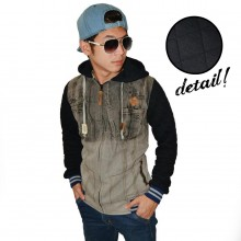 Jacket Denim Hoodie Brown Gradation