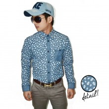 Kemeja Denim Skull Pattern Blue