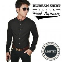Kemeja Korean Neck Square Black *Limited Edition