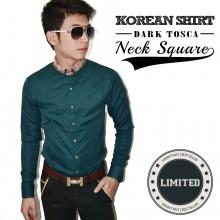 Kemeja Korean Neck Square Dark Tosca *Limited Edition