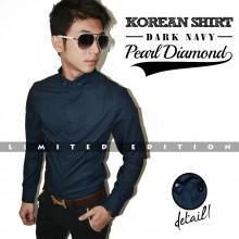 Kemeja Korean Pearl Diamond Dark Navy *Limited Edition