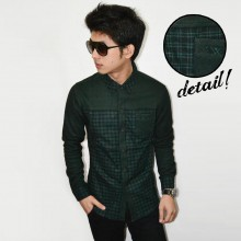 Kemeja Flanel Knit Square Dark Green