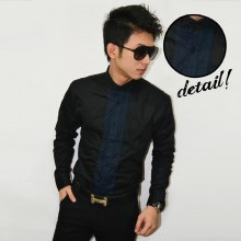 Kemeja Placket Panel Long Sleeve