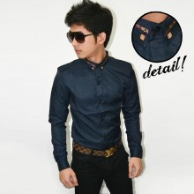 Kemeja Premium Neck Gold List Navy