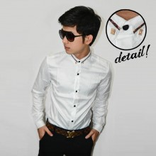 Kemeja Premium Neck Gold List White