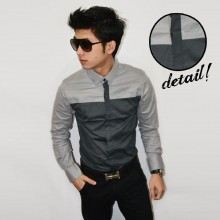 Kemeja Vertical Line Top Soft Grey